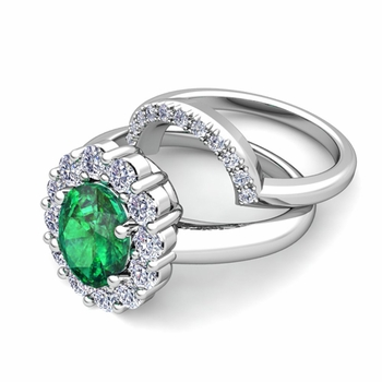 Diana Diamond and Emerald Engagement Ring Bridal Set in Platinum, 7x5mm