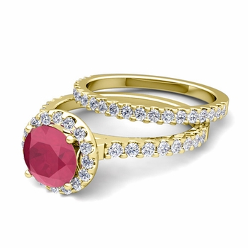Bridal Set: Pave Diamond and Ruby Engagement Wedding Ring in 18k Gold, 6mm