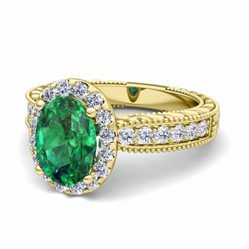 Vintage Inspired Diamond and Emerald Engagement Ring in 18k Gold, 9x7mm
