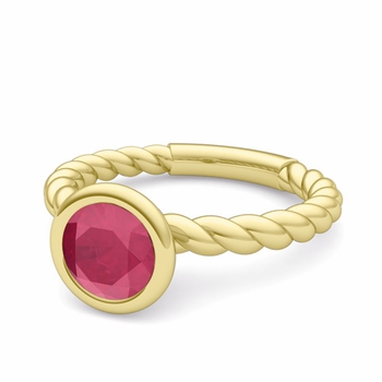 Bezel Set Solitaire Ruby Ring in 18k Gold Twisted Rope Band, 6mm