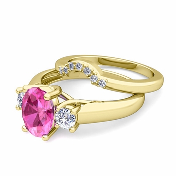 Classic Diamond and Pink Sapphire Three Stone Ring Bridal Set in 18k Gold, 7x5mm