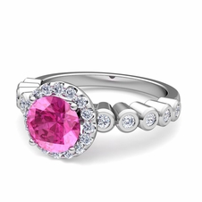 Bezel Set Diamond and Pink Sapphire Halo Engagement Ring in 14k Gold, 5mm