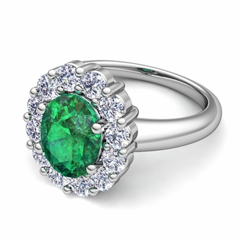 Halo Diamond and Emerald Diana Ring in Platinum, 7x5mm
