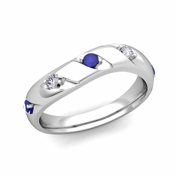 Curved Sapphire and Diamond Wedding Ring Band in Platinum, 3.5mm