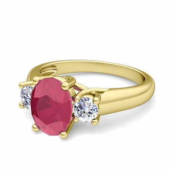 Classic Diamond and Ruby Three Stone Ring in 18k Gold, 7x5mm