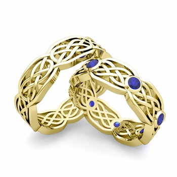 Matching Wedding Band in 18k Gold Sapphire Celtic Knot Wedding Rings