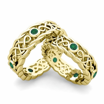 Matching Celtic Knot Wedding Band in 18k Gold Emerald Wedding Ring