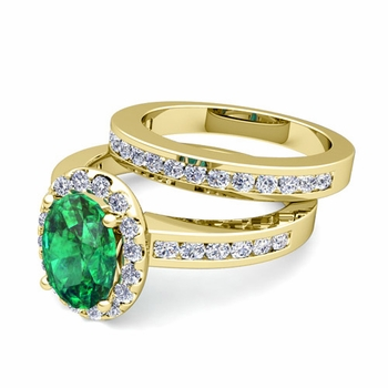 Halo Bridal Set: Diamond and Emerald Engagement Wedding Ring in 18k Gold, 7x5mm