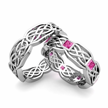 Matching Princess Cut Pink Sapphire Celtic Knot Wedding Ring Band in Platinum