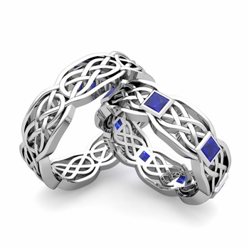 Matching Princess Cut Sapphire Celtic Knot Wedding Ring Band in 14k Gold