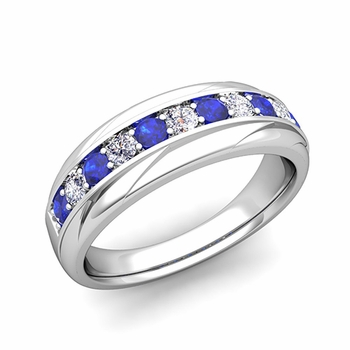 Brilliant Diamond and Sapphire Wedding Ring Band in Platinum, 6mm