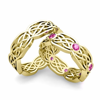 Matching Wedding Band in 18k Gold Pink Sapphire Celtic Knot Wedding Rings