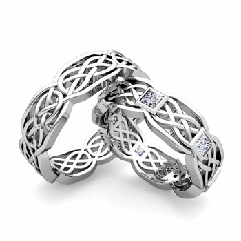 Matching Princess Cut Diamond Celtic Knot Wedding Ring Band in Platinum