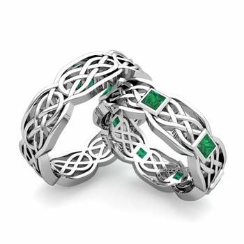 Matching Princess Cut Emerald Celtic Knot Wedding Ring Band in Platinum