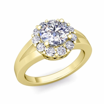 Radiant Diamond Halo Engagement Ring in 18k Gold