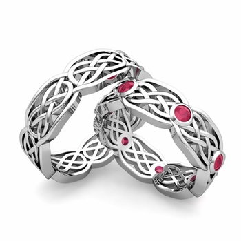 Matching Wedding Band in Platinum Ruby Celtic Knot Wedding Rings