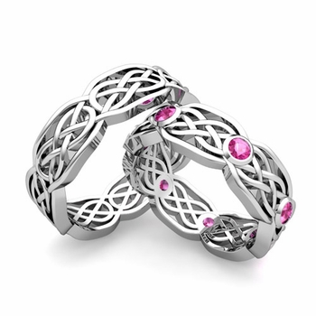 Matching Wedding Band in Platinum Pink Sapphire Celtic Knot Wedding Rings