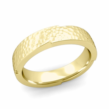 Unique Comfort Fit Wedding Band with Matte Hammered Finish in 18k Gold Band, 5mm