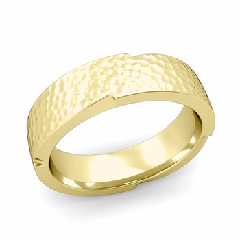 Unique Comfort Fit Wedding Band with Matte Hammered Finish in 18k Gold Band, 6mm