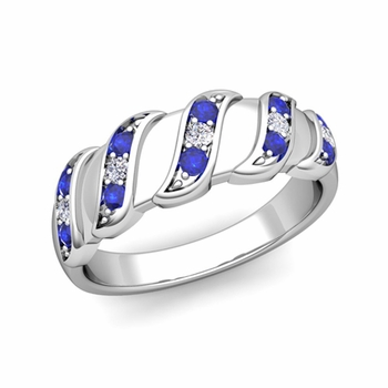 Twisted Diamond and Sapphire Wedding Ring Band in Platinum, 5mm