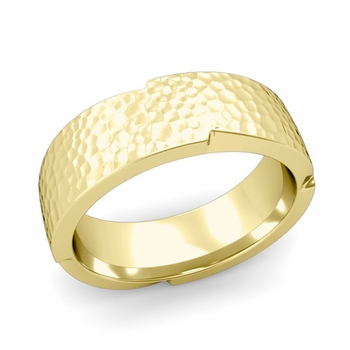 Unique Comfort Fit Wedding Band with Matte Hammered Finish in 18k Gold Band, 7mm