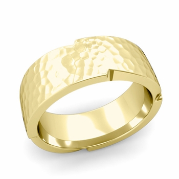 Unique Comfort Fit Wedding Band with Matte Hammered Finish in 18k Gold Band, 8mm