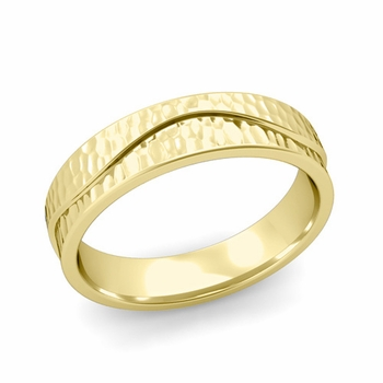 Wave Wedding Band in 18k Gold Comfort Fit Ring, Hammered Finish, 5mm