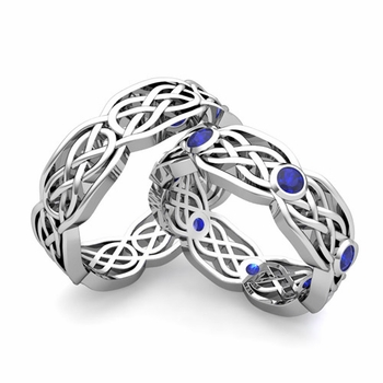 Matching Wedding Band in Platinum Sapphire Celtic Knot Wedding Rings