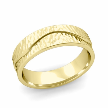 Wave Wedding Band in 18k Gold Comfort Fit Ring, Hammered Finish, 6mm