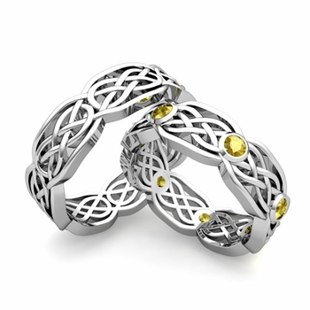 Matching Wedding Band in Platinum Yellow Sapphire Celtic Knot Wedding Rings