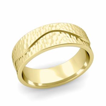 Wave Wedding Band in 18k Gold Comfort Fit Ring, Hammered Finish, 7mm