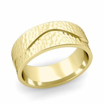 Wave Wedding Band in 18k Gold Comfort Fit Ring, Hammered Finish, 8mm