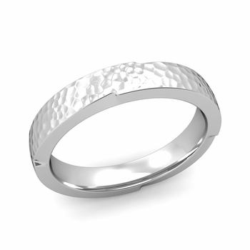 Unique Comfort Fit Wedding Band with Matte Hammered Finish in Platinum Band, 4mm