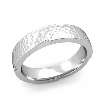 Unique Comfort Fit Wedding Band with Matte Hammered Finish in Platinum Band, 5mm