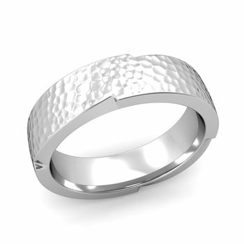 Unique Comfort Fit Wedding Band with Matte Hammered Finish in Platinum Band, 6mm