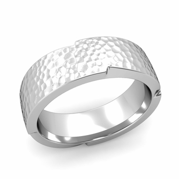 Unique Comfort Fit Wedding Band with Matte Hammered Finish in Platinum Band, 7mm