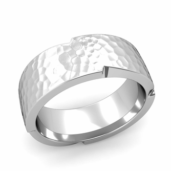 Unique Comfort Fit Wedding Band with Matte Hammered Finish in Platinum Band, 8mm
