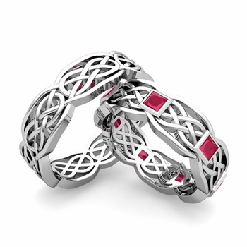 Matching Princess Cut Ruby Celtic Knot Wedding Ring Band in Platinum