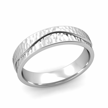 Wave Wedding Band in Platinum Comfort Fit Ring, Hammered Finish, 5mm