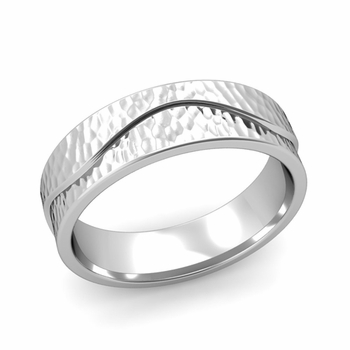 Wave Wedding Band in Platinum Comfort Fit Ring, Hammered Finish, 6mm