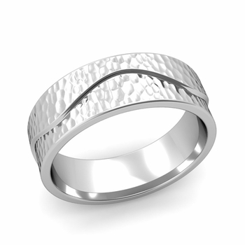 Wave Wedding Band in Platinum Comfort Fit Ring, Hammered Finish, 7mm