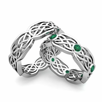 Matching Wedding Band in Platinum Emerald Celtic Knot Wedding Rings