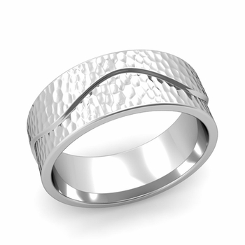 Wave Wedding Band in Platinum Comfort Fit Ring, Hammered Finish, 8mm