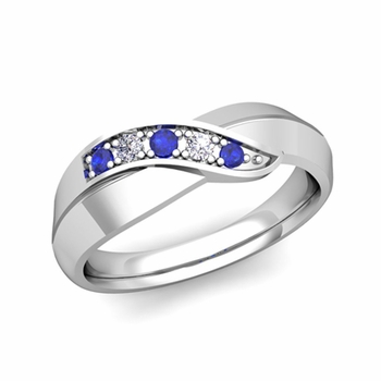 5 Stone Sapphire and Diamond Wedding Ring in 14k Gold Infinity Ring Band, 5.2mm