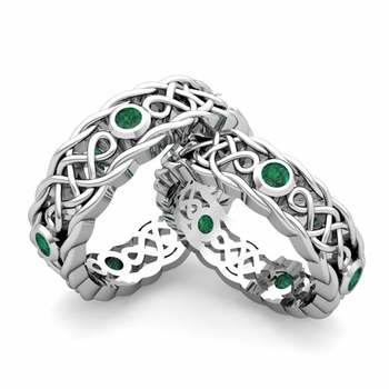 Matching Celtic Knot Wedding Band in Platinum Emerald Wedding Ring