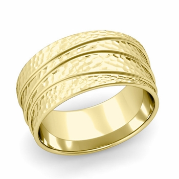 Wave Comfort Fit Wedding Ring in 18k Gold Hammered Finish Band, 10mm