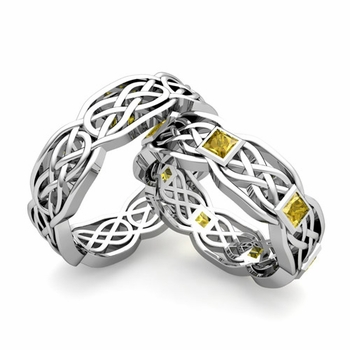 Matching Princess Cut Yellow Sapphire Celtic Knot Wedding Ring Band in Platinum