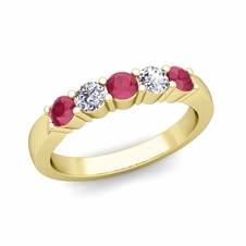 5 Stone Diamond and Ruby Wedding Ring in 18k Gold