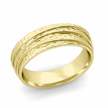 Wave Comfort Fit Wedding Ring in 18k Gold Hammered Finish Band, 6mm