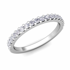 Petite Pave Diamond Wedding Ring Band in Platinum, 0.32 cttw